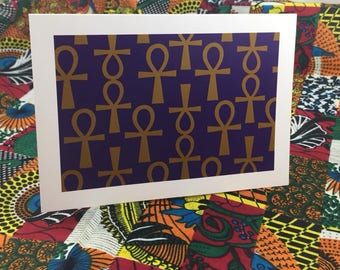 Ankh Boxed Greeting Card-Solid Box Purple and Gold