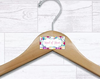 Floral Maid of Honor Wooden Hanger - Wedding Hangers - Bridal Hanger - Maid of Honor Gift - Wedding Gift - Wedding Supplies - HNGR0041