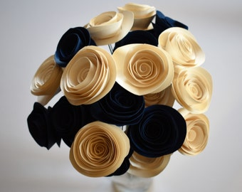 Navy Blue and Ivory Wedding Paper Flower Bouquet, Bridal Bouquet, Stemmed Paper Flowers