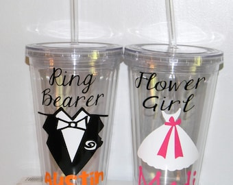 Ring Bearer Gift- Flower Girl Gift - Wedding Party - Kids Water Bottle - Personalized Children's Tumbler -  Ring Security