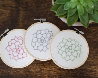 Succulent Embroidery Hoop Trio