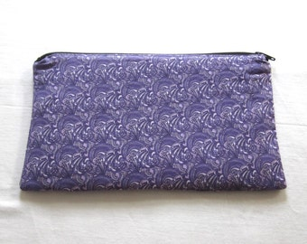 Groovy Purple Fabric  Zipper Pouch / Pencil Case / Make Up Bag / Gadget Pouch