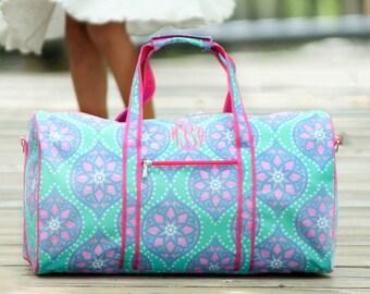 Personalized Girls Duffel Bag   Monogrammed Pink and Mint Travel Bag  Personalized Overnight Bag   Personalized Dance or Gym Bag