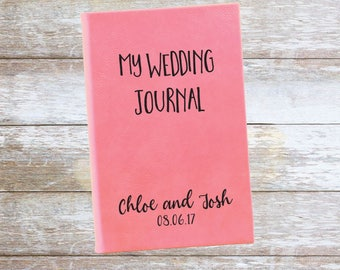 Personalized My Wedding Journal with Date and Names Leatherette Journal,Engraved,Lined,