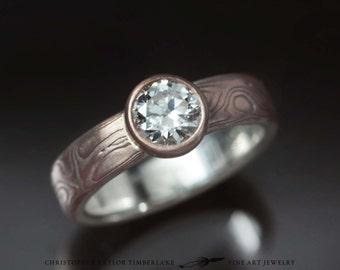 Mokumé Gane 14K Rose Gold and Sterling Silver Ring