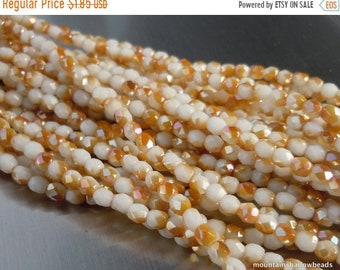 40% OFF Clearance 3mm Czech Beads - Opaque White Caramel Luster Firepolished Faceted 50 pcs (G - 75)