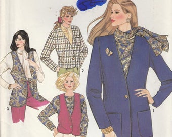 Easy Vest Pattern Lined Jacket Size 6 - 8 - 10 - 12 - 14  Uncut Simplicity 9780