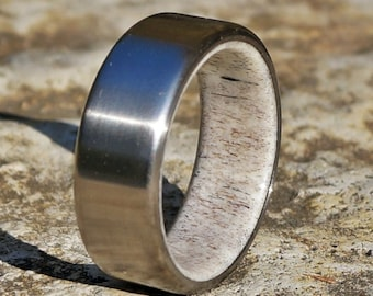 Titanium band ring natural deer antler inside