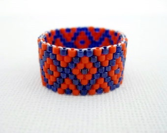 Peyote Ring  / Beaded Ring in Orange and Blue /  Seed Bead Ring / Delica Ring / Beadwoven Ring / Size 8 Ring / Geometric Ring / Custom Ring