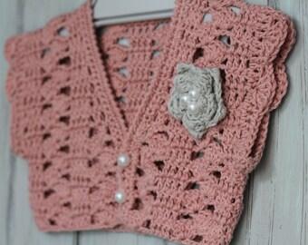 "Crochet Pattern Girls Bolero Pattern, Pearl Flower, ""paige bolero pattern"" summer cardigan shrug shawl PDF ONLY"