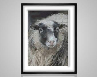 Sheep - cute cuddly sheepy guy full of yarn fluff - pdf cross stitch pattern  - INSTANT DOWNLOAD