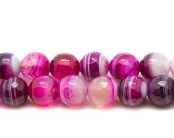 1 strand 39cm hot pink Agate stone - beads 6mm faceted balls