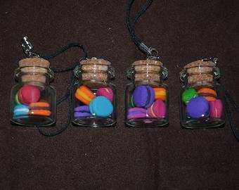 glass jars with a fimo mini macaroons