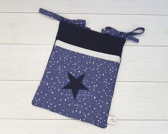 Pack with dark blue blanket