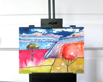 Abstract Landscape Watercolor Painting Art Original One of a Kind Colorful Home Decor Office