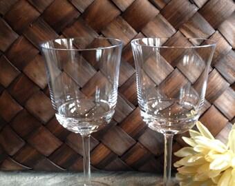 Ralph Lauren Wine Glasses Crystal Celebration Wedding Anniversary Vintage Glassware - #3475