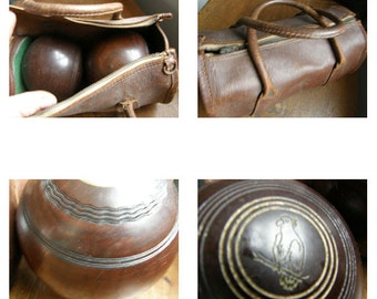 Vintage henselite pair of bowls in leather carry bag ,free uk post