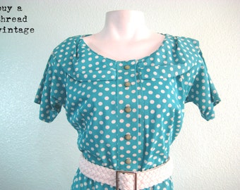 Vintage 40s Doris Turquoise and White Polka Dot Day Dress by Casualmaker Sy Frankel (R)