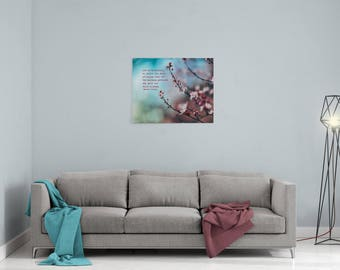 "Charming Gardeners Canvas Wall Print 8"" x 10"" - Kindness Inspirational Ready to Hang Decor Motivational Art Cherry Blossom"