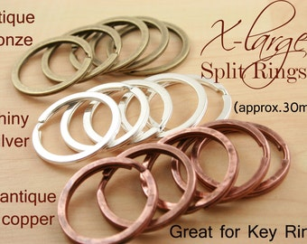 20 - Extra Large Split Rings for Key Ring and Key Chains - Round, Heavy Duty, 28-30mm, silver , bronze, dark antique copper, and gun metal