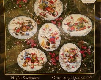 Playful Snowmen Ornaments