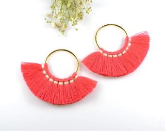 Cotton Tassels, Fuchsia Pink Color Multi Tassels in Fan Shape, 2 1/4 x 3 Inch, Tassels for Jewelry Making, Tassel Earrings, Tassel Necklaces