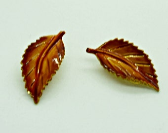 Vintage Brown Enameled Leaf Earrings