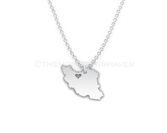 Iran Necklace - Iran heart necklace, Iran charm necklace, I love Iran necklace