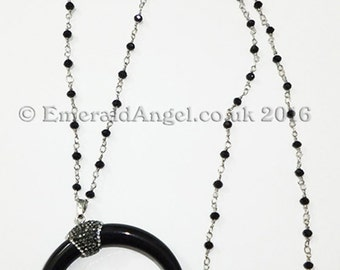 Witch, Gothic Black Horn / Crescent Moon & Beads Necklace