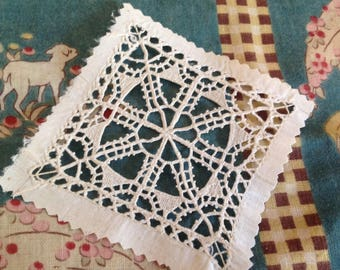Vintage hand made Venetian lace square