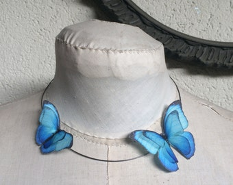 Flying - Handmade Necklace Choker with Morpho Blue Butterflies in Cotton and Silk Organza