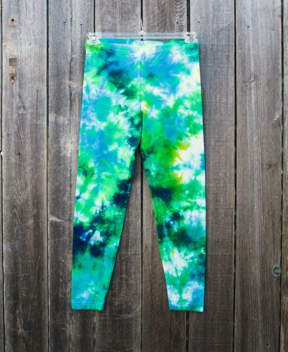 Tie Dye Leggings/Hand Dyed/Womens Tie Dye/Navy, Periwinkle & Green/Eco-Friendly Dying