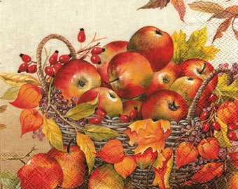 445 very pretty basket of apples pattern x 4 1 lunch size paper towel