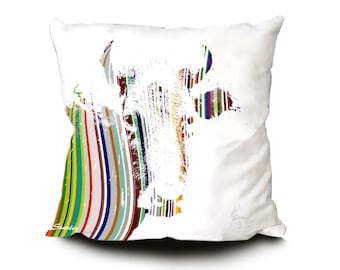Colourful Cow Cushion. Decorative Pillows. Farmhouse decor and gifts for Farmers and cow lovers