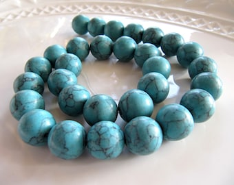 Large MAGNESITE Beads in Turquoise Blue, Approx 12mm to 14mm, Round, 1 Strand 15 Inches, 30 Beads