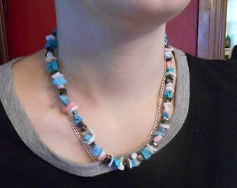 Stone necklace,multi colored stone necklace,stone beaded necklace, women's necklace,natural necklace
