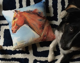 Horse Pillow from my original horse watercolor painting