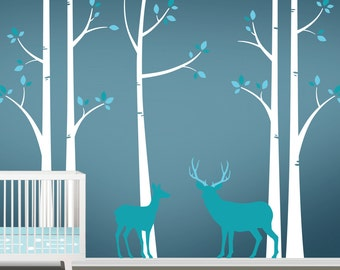 Deer Wall Decals - Tree Nursery Wall Art - Woodland Nursery Decor - Birch Tree