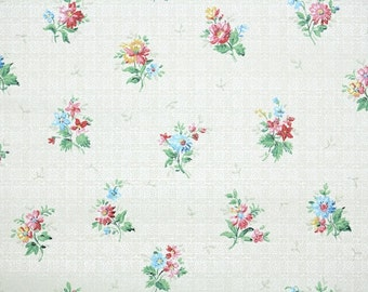 1940s Vintage Wallpaper by the Yard - Floral Wallpaper with Tiny Colorful Bouquets on Flowers on Ivory