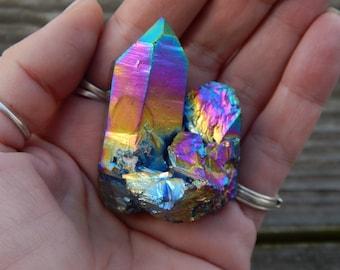 Genuine RAINBOW TITANIUM QUARTZ Cluster - Titanium Bismuth Silicate Coated Quartz Cluster - Titanium Quartz - Metaphysical Crystals - Reiki