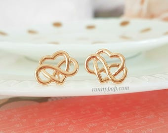 Heart Earrings - Eternity Symbol - Infinity Symbol - Heart Jewelry - Love Symbol - Bridesmaid Gift - Mother Gift - Sister Gift - Christmas