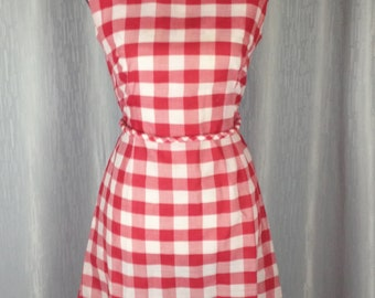 Vintage 1960s B Altman & Co Red and White Check Dress