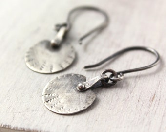 Rustic Riveted Silver Earrings