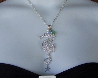 Seahorse Necklace - Seahorse Pendant - Large - Rhinestones - Charms - Destination Beach Wedding - Silver - Bride - Limited Edition Last One