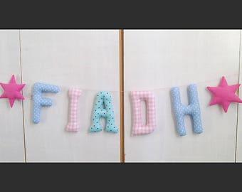 Prénom guirlande  *FIADH*lettres en tissus