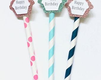 Birthday Baby Custom Silver Pink Gold 21st Birthday Birthday Straws Party Decorations Paper Straws Polka Dit Recycle Chevron Birthday Gift