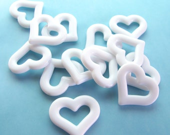 White Vintage Plastic Open Heart Beads, 25mm - 4 pieces