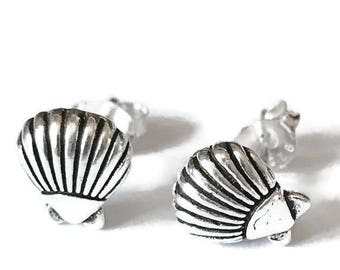 Sterling Silver Stud Earrings/shell stud earrings /Highly polished/Gifts/wedding/bridesmaid