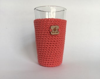 Pint Glass Sleeve, Coral - beer cozy - pint glass cozy - crochet cup sleeve - cold cup sleeve cold beverage sleeves