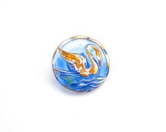 Czech Glass Button - 23mm Blue Swan Czech Glass Button, Blue Swan Glass Button BUT0030
